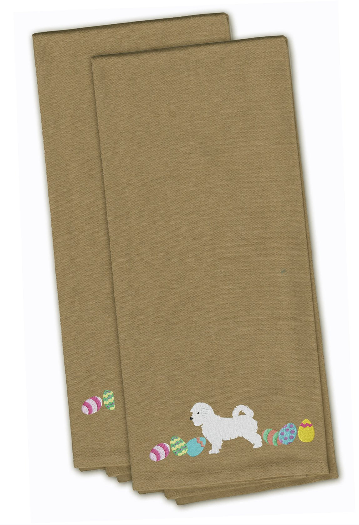 Maltese Easter Tan Embroidered Kitchen Towel Set of 2 CK1663TNTWE by Caroline's Treasures