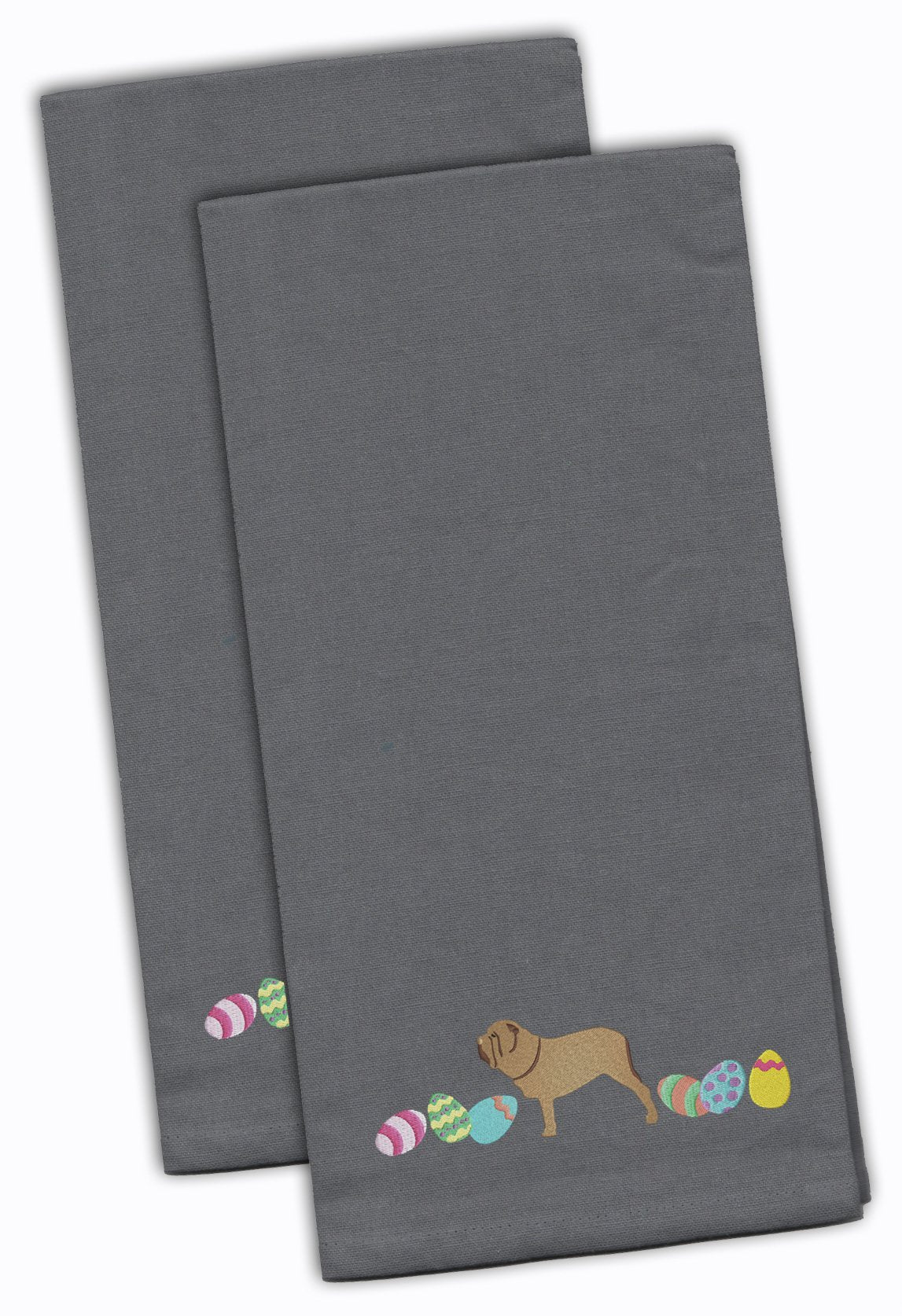 Neopolitan Mastiff Easter Gray Embroidered Kitchen Towel Set of 2 CK1664GYTWE by Caroline's Treasures