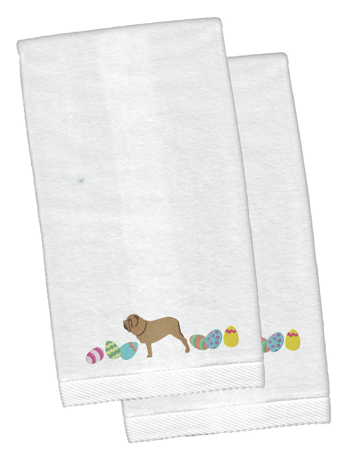 Neopolitan Mastiff Easter White Embroidered Plush Hand Towel Set of 2 CK1664KTEMB by Caroline's Treasures