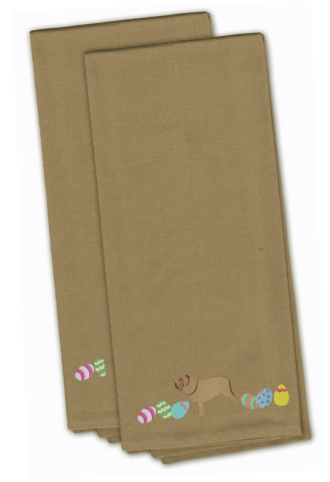 Neopolitan Mastiff Easter Tan Embroidered Kitchen Towel Set of 2 CK1664TNTWE by Caroline's Treasures