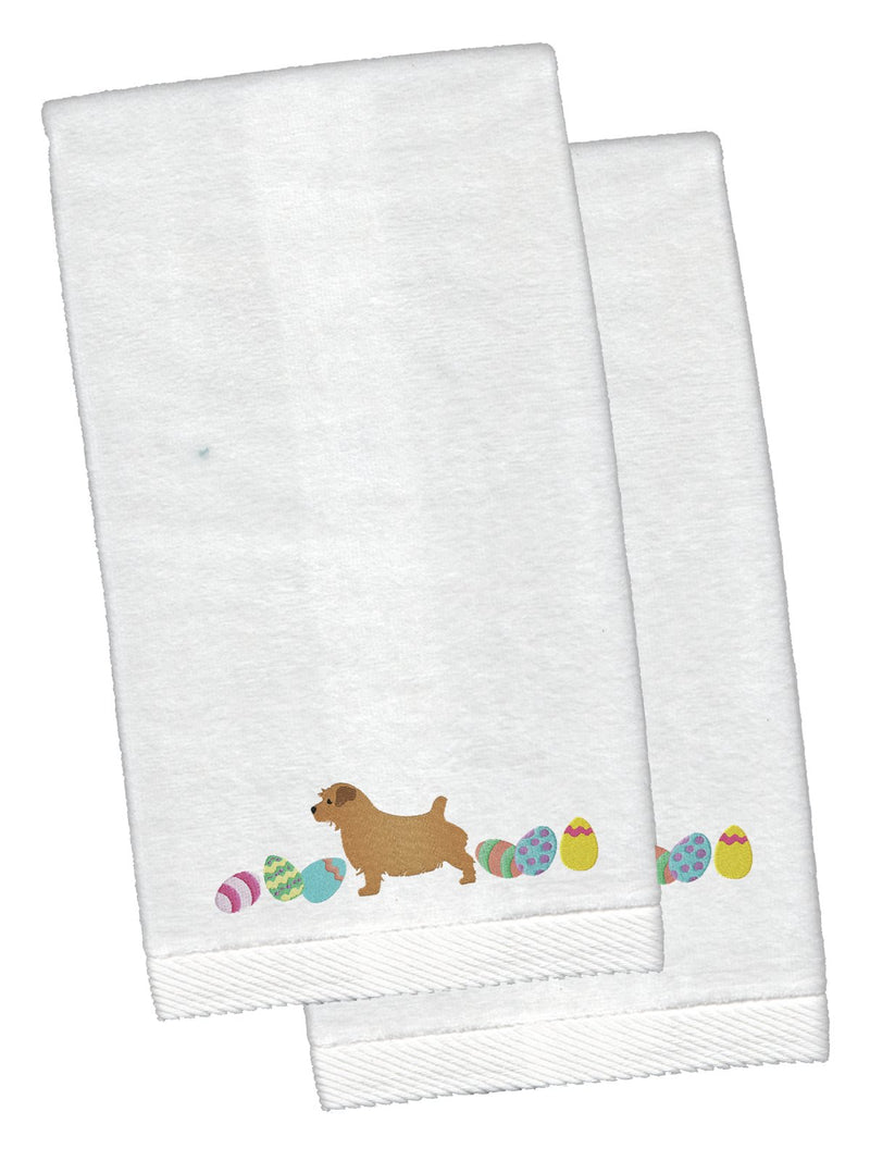 Buy this Norfolk Terrier Easter White Embroidered Plush Hand Towel Set of 2 CK1666KTEMB