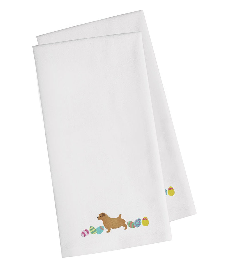 Buy this Norfolk Terrier Easter White Embroidered Kitchen Towel Set of 2 CK1666WHTWE