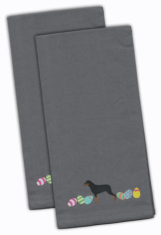 Buy this Rottweiler Easter Gray Embroidered Kitchen Towel Set of 2 CK1678GYTWE