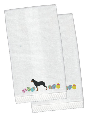 Buy this Rottweiler Easter White Embroidered Plush Hand Towel Set of 2 CK1678KTEMB