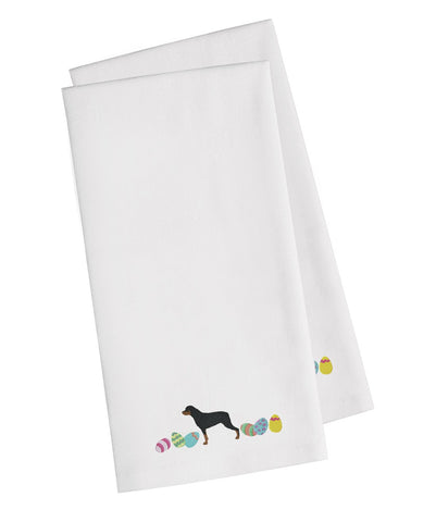 Buy this Rottweiler Easter White Embroidered Kitchen Towel Set of 2 CK1678WHTWE