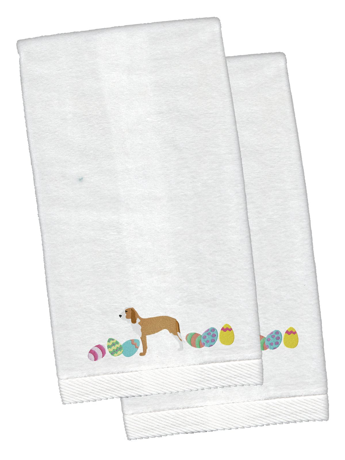 Sabueso Espanol Easter White Embroidered Plush Hand Towel Set of 2 CK1688KTEMB by Caroline's Treasures