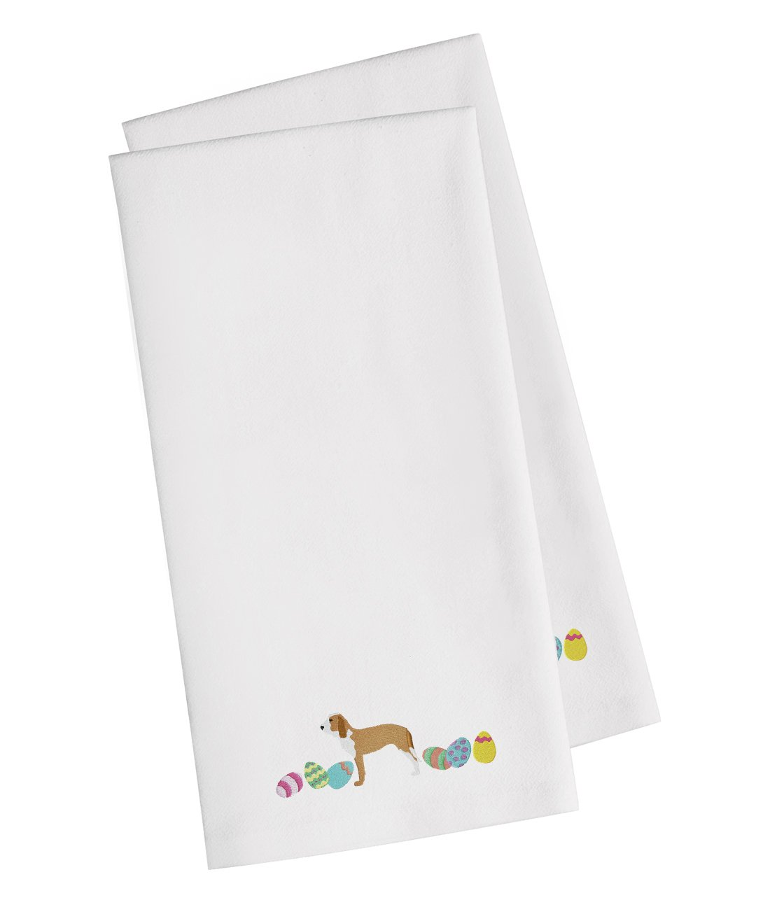 Sabueso Espanol Easter White Embroidered Kitchen Towel Set of 2 CK1688WHTWE by Caroline's Treasures