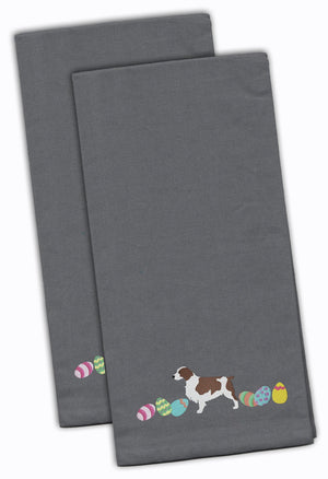 Buy this Welsh Springer Spaniel Easter Gray Embroidered Kitchen Towel Set of 2 CK1692GYTWE
