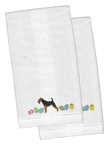 Buy this Welsh Terrier Easter White Embroidered Plush Hand Towel Set of 2 CK1693KTEMB