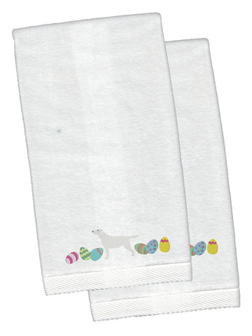 Buy this Yellow Labrador Retriever Easter White Embroidered Plush Hand Towel Set of 2 CK1694KTEMB