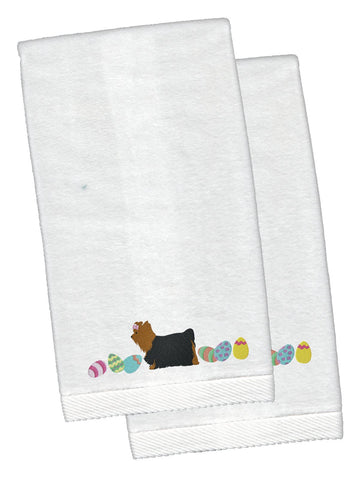 Buy this Yorkie Yorkshire Terrier Easter White Embroidered Plush Hand Towel Set of 2 CK1695KTEMB