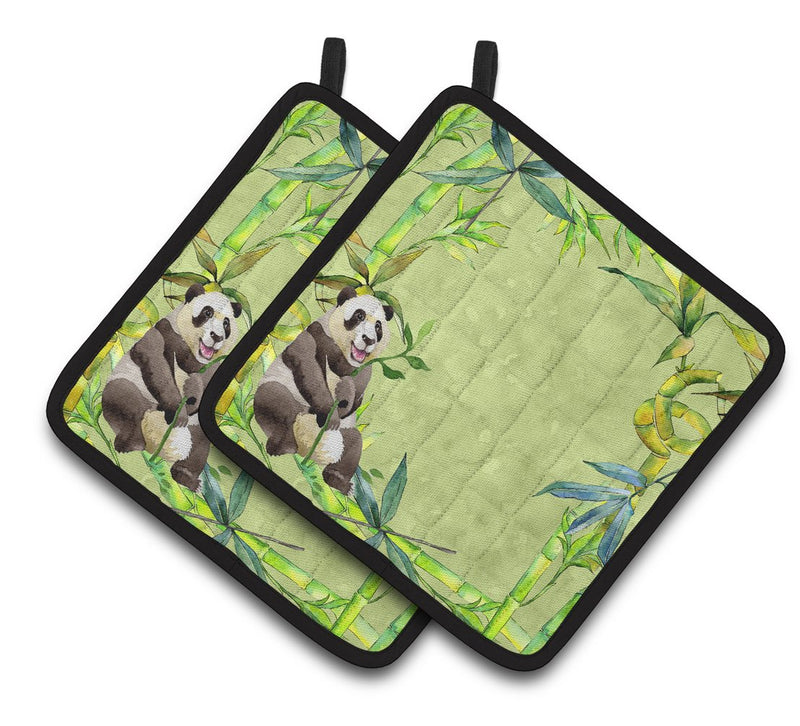 Panda Bear and Bamboo Pair of Pot Holders by Caroline's Treasures