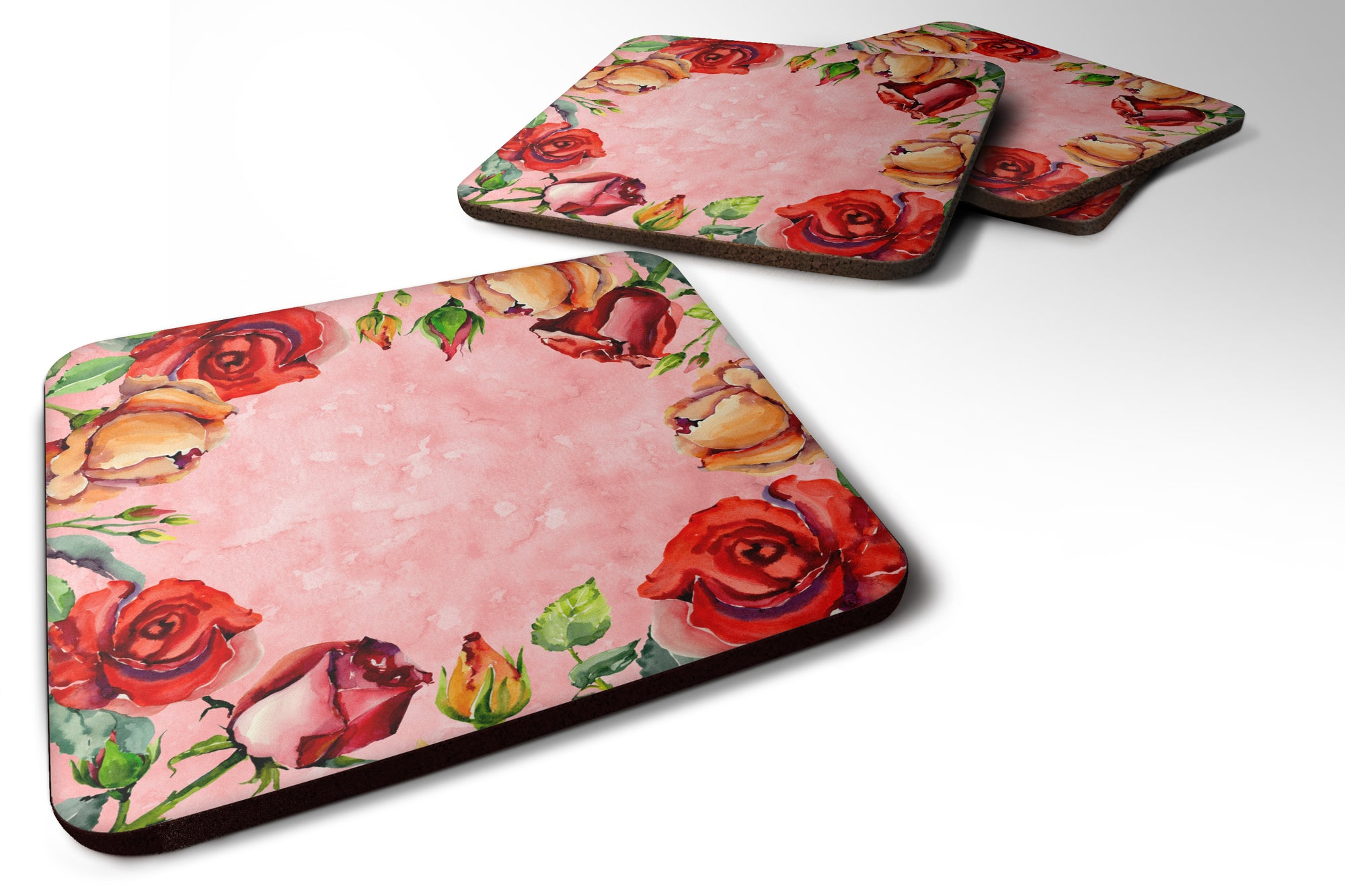 Set of 4 Roses Foam Coasters Set of 4 by Caroline's Treasures