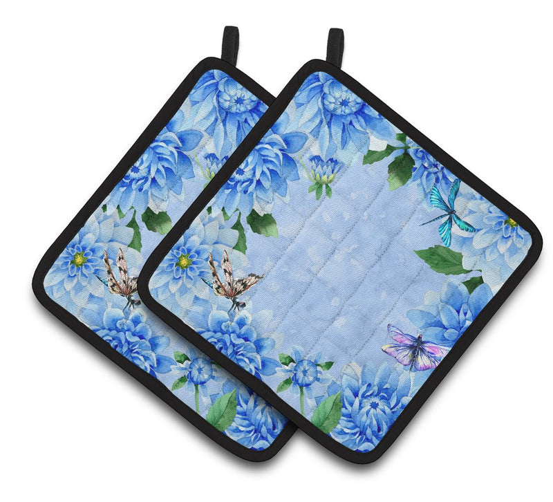 Buy this Blue Dahlias Pair of Pot Holders