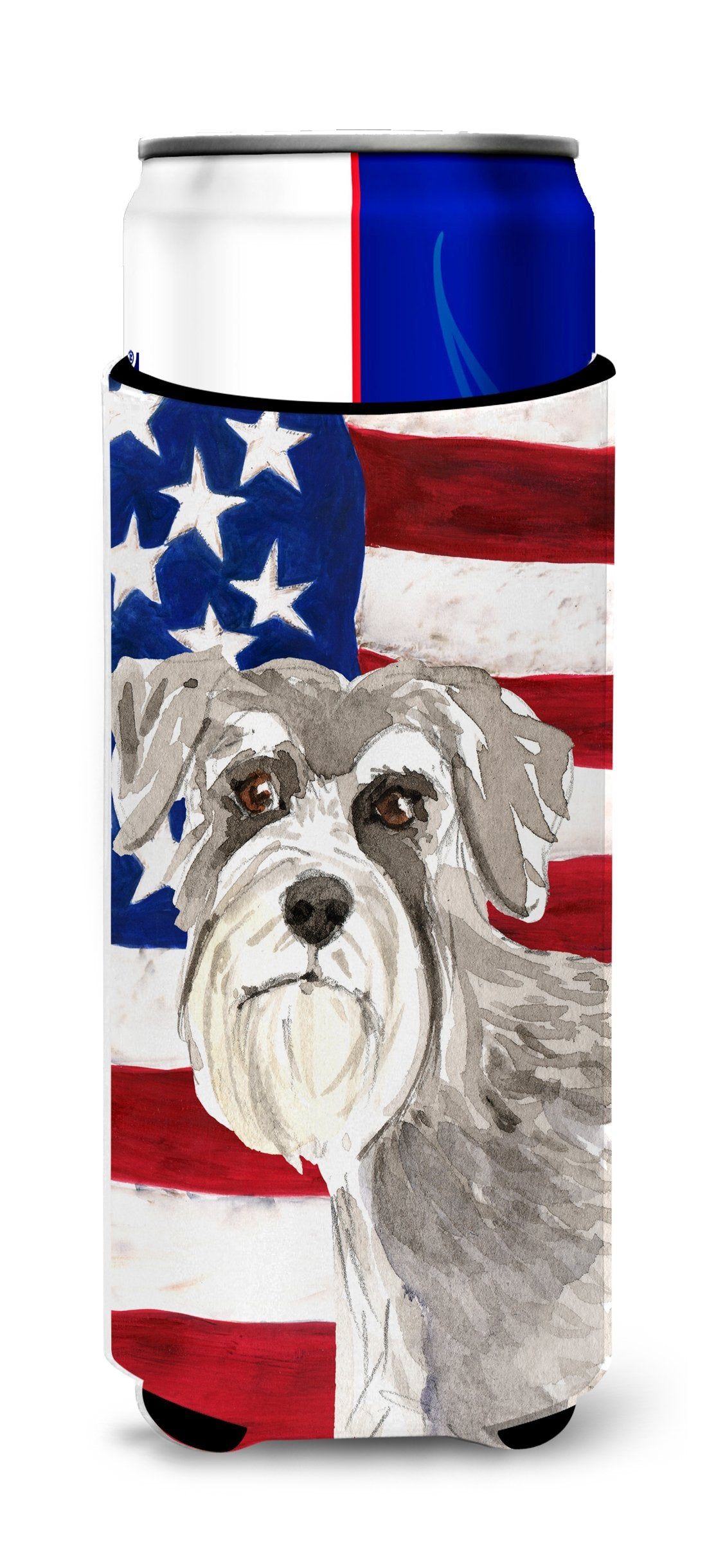 Patriotic USA Schnauzer #1 Michelob Ultra Hugger for slim cans CK1718MUK by Caroline's Treasures