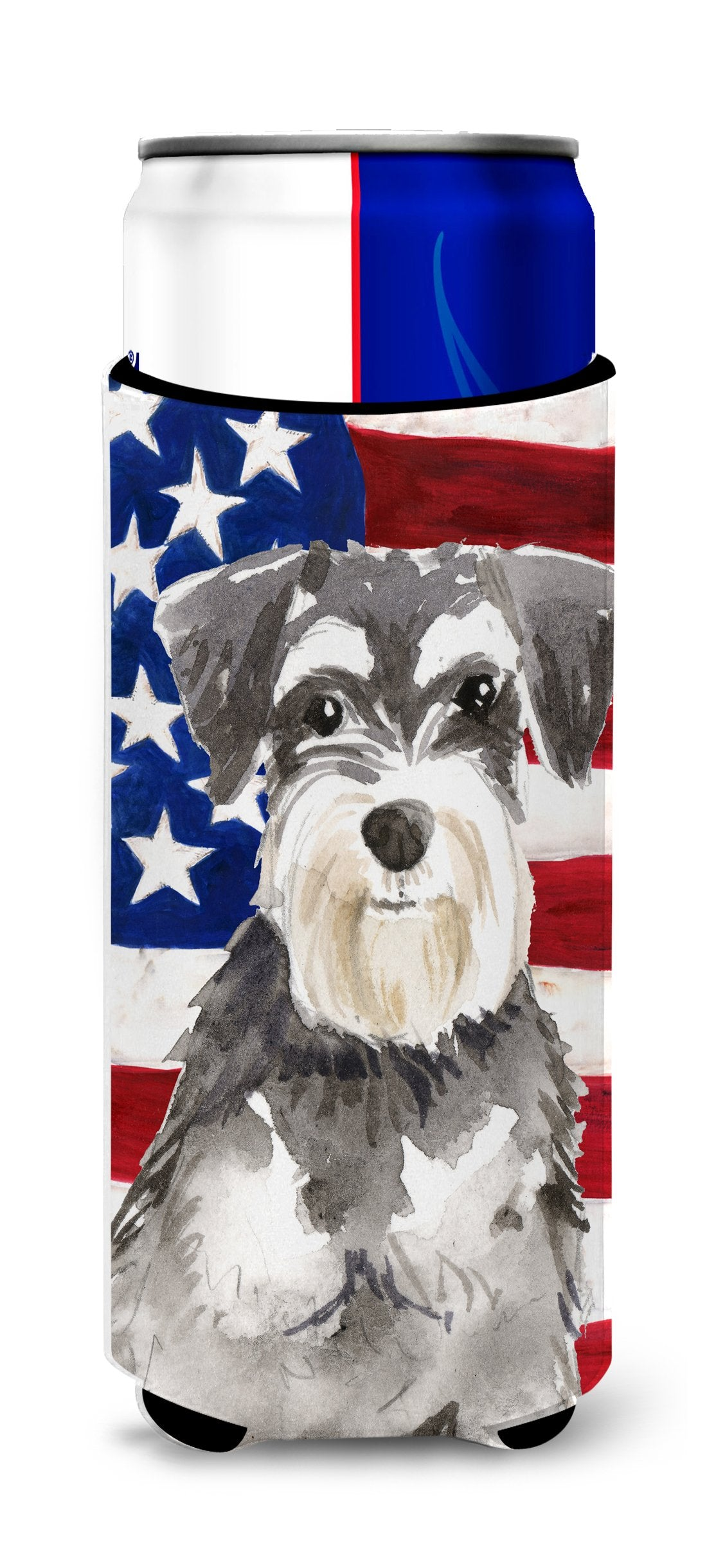 Patriotic USA Schnauzer #2 Michelob Ultra Hugger for slim cans CK1722MUK by Caroline's Treasures