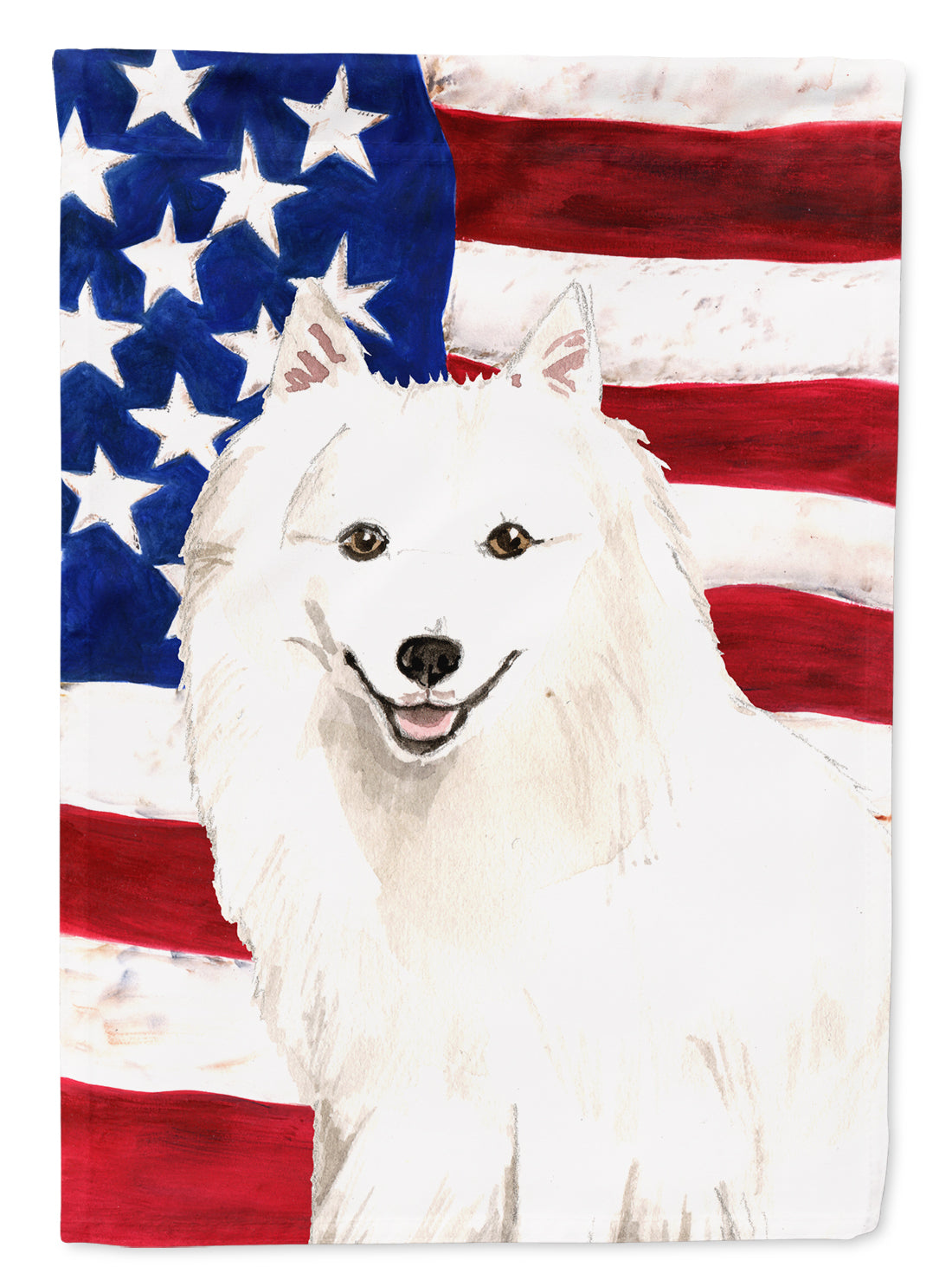 Patriotic USA Japanese Spitz Flag Canvas House Size CK1727CHF by Caroline's Treasures