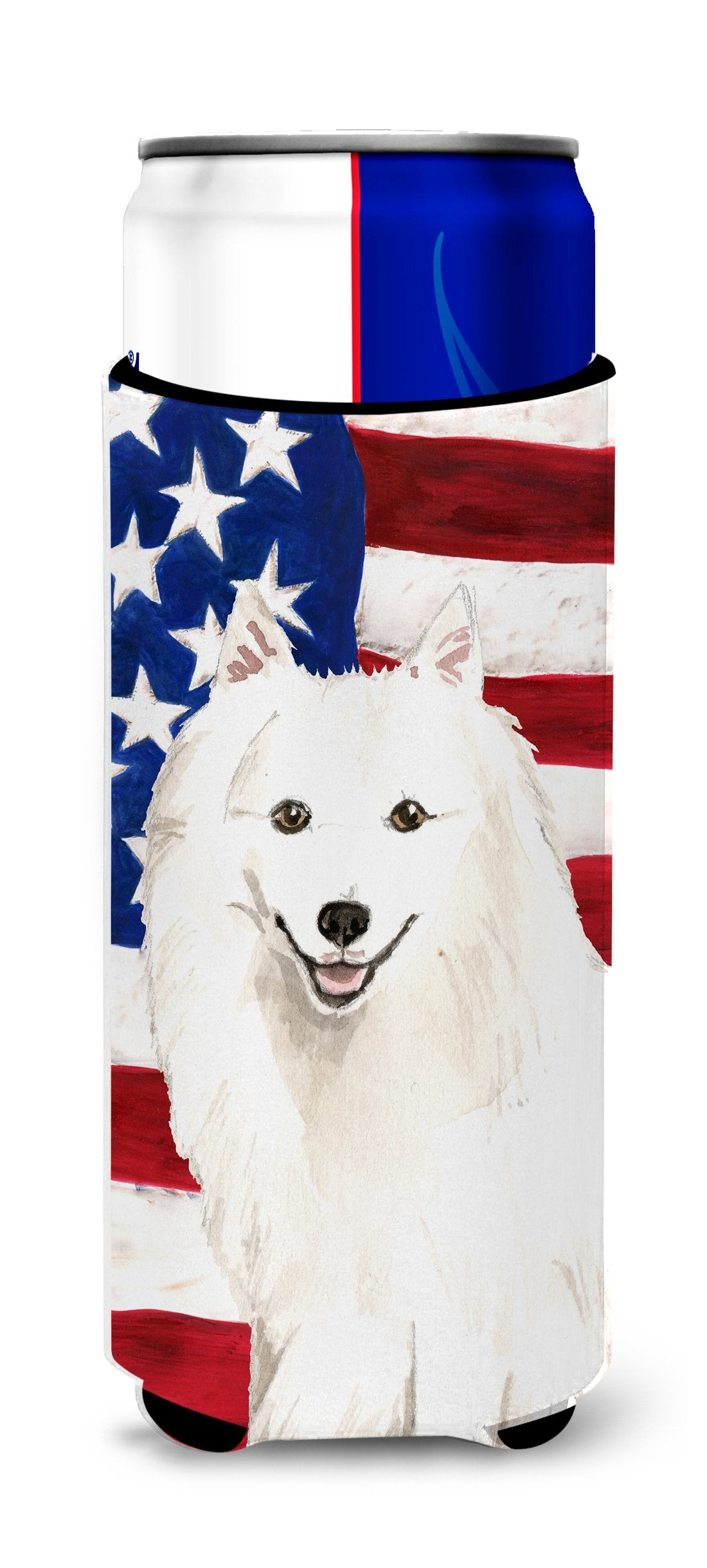 Patriotic USA Japanese Spitz Michelob Ultra Hugger for slim cans CK1727MUK by Caroline's Treasures