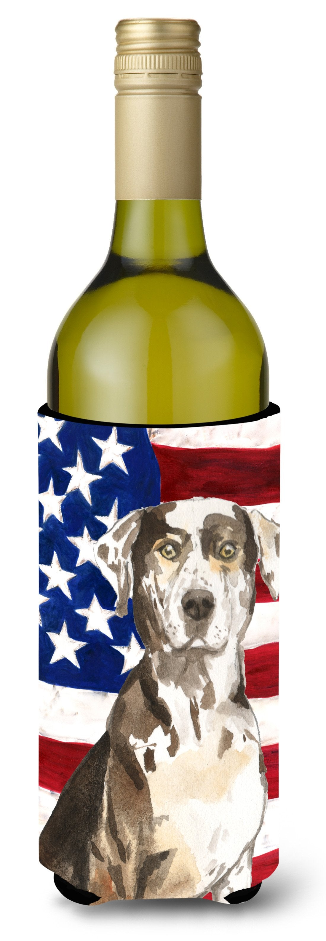 Patriotic USA Catahoula Leopard Dog Wine Bottle Beverge Insulator Hugger CK1734LITERK by Caroline's Treasures