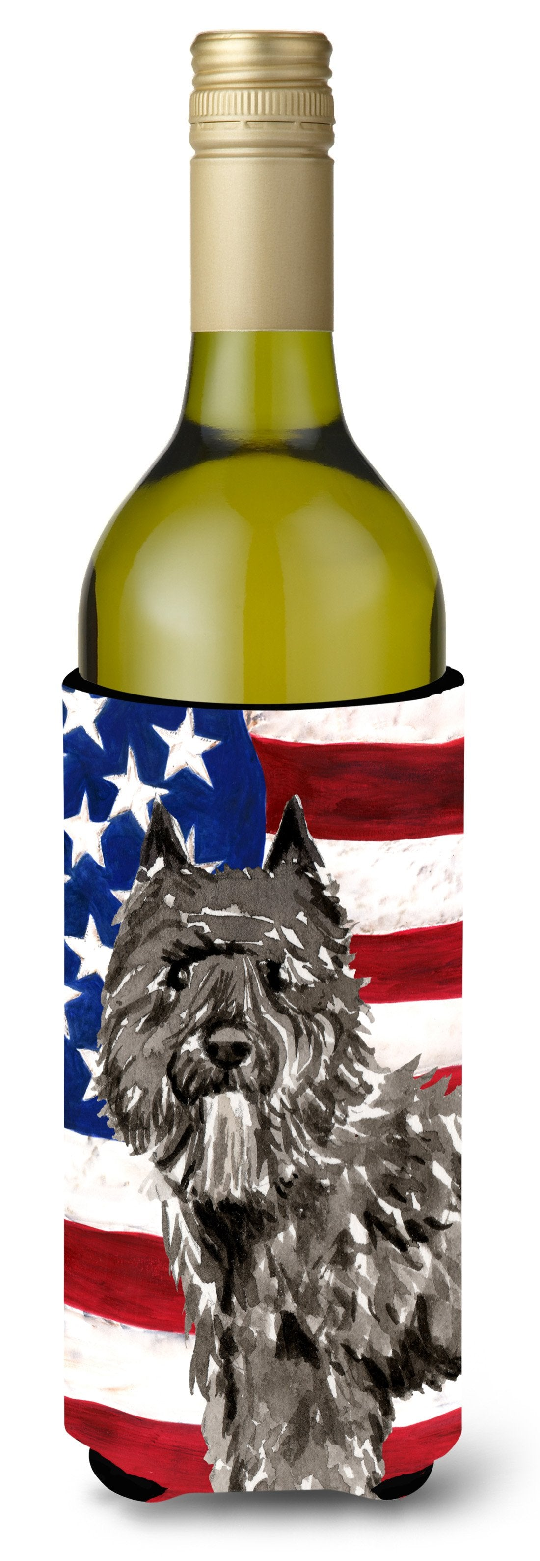 Buy this Patriotic USA Bouvier des Flandres Wine Bottle Beverge Insulator Hugger CK1737LITERK