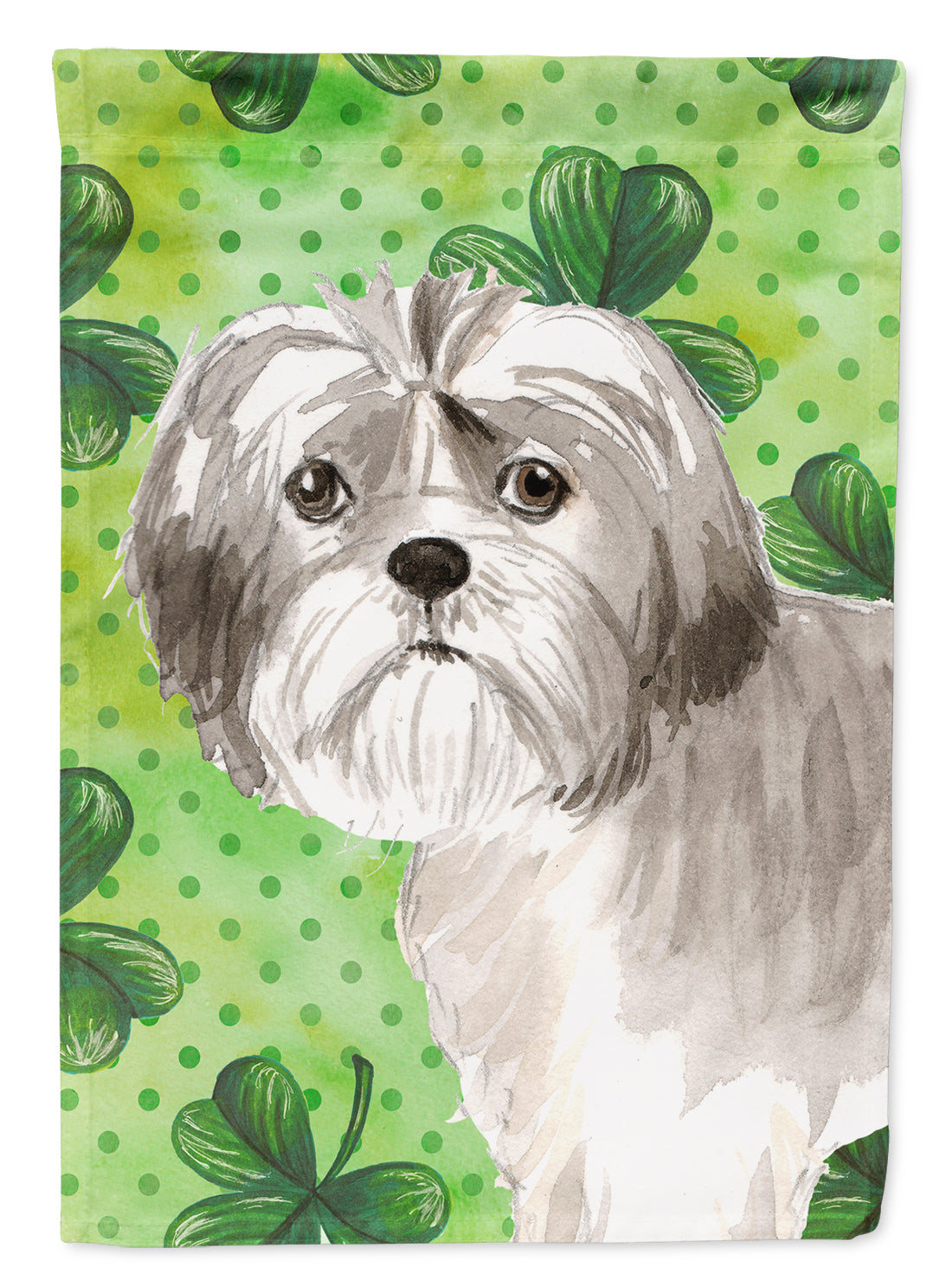 Buy this Shamrocks Shih Tzu Puppy Flag Canvas House Size CK1788CHF