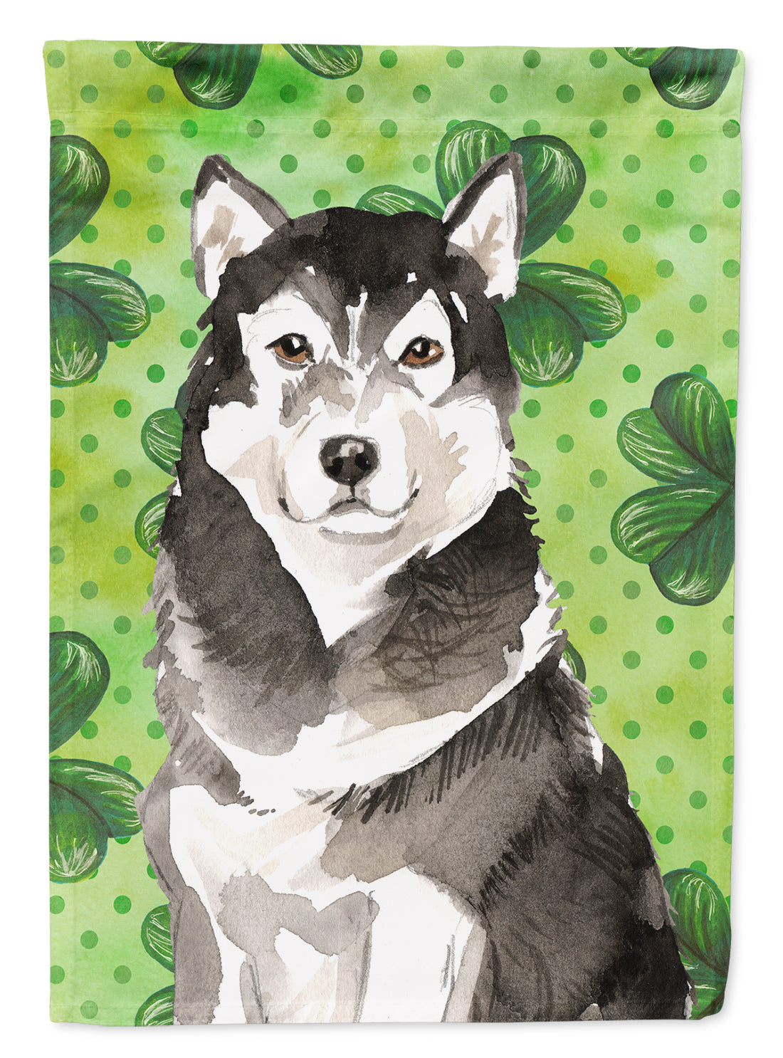 Buy this Shamrocks Alaskan Malamute Flag Canvas House Size CK1798CHF