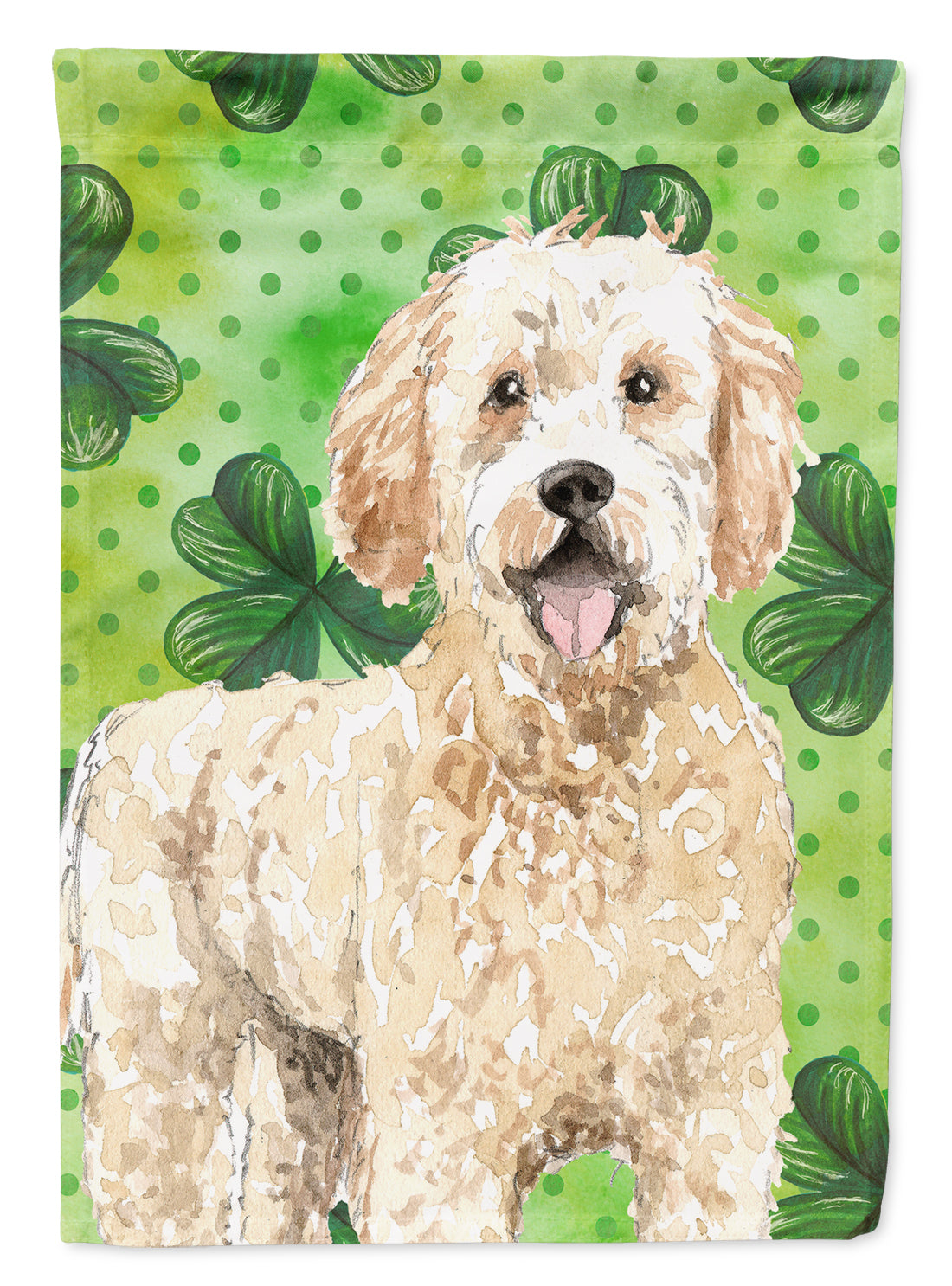 Buy this Shamrocks Goldendoodle Flag Canvas House Size CK1805CHF