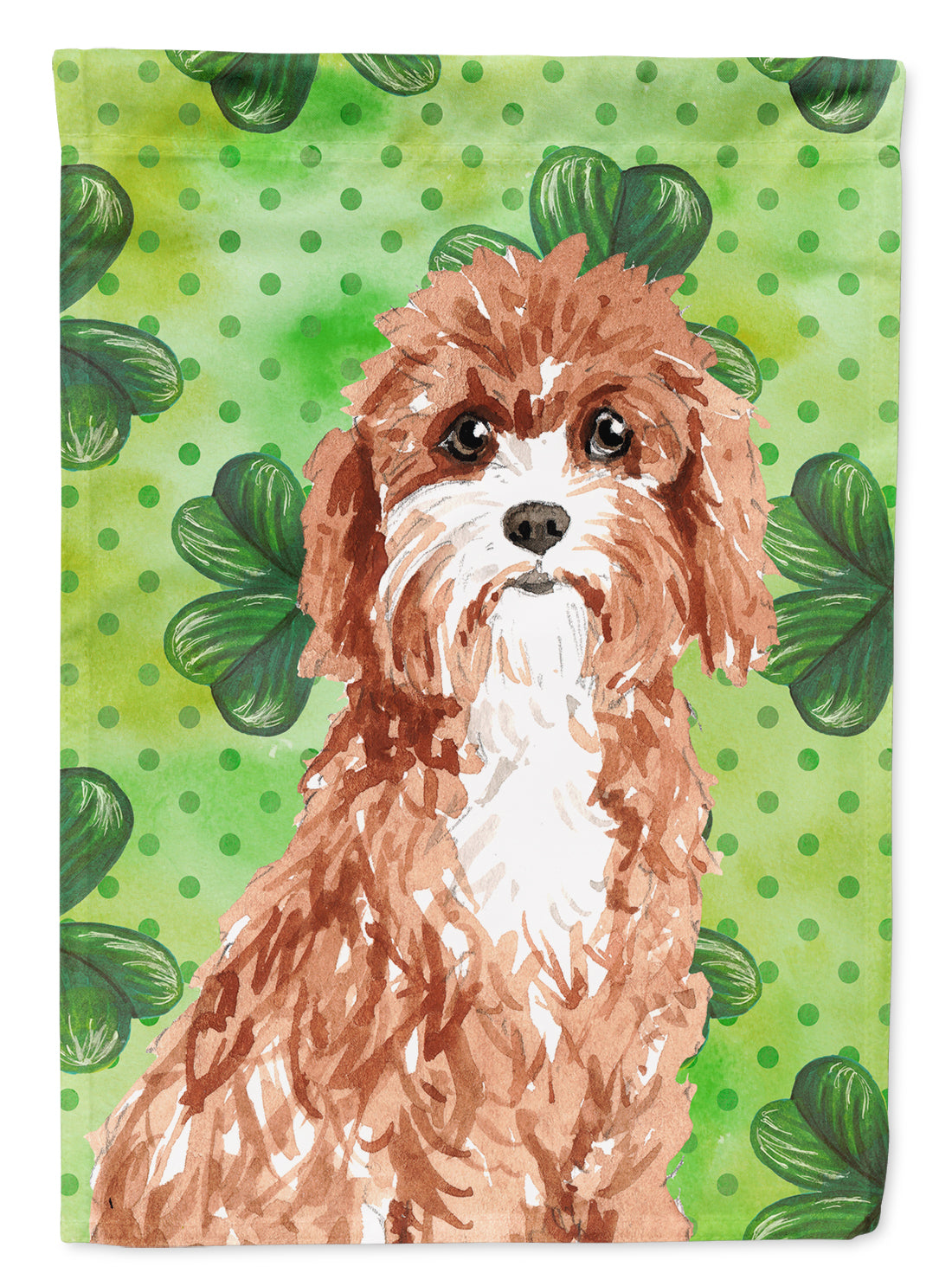 Buy this Shamrocks Cavapoo Flag Canvas House Size CK1807CHF