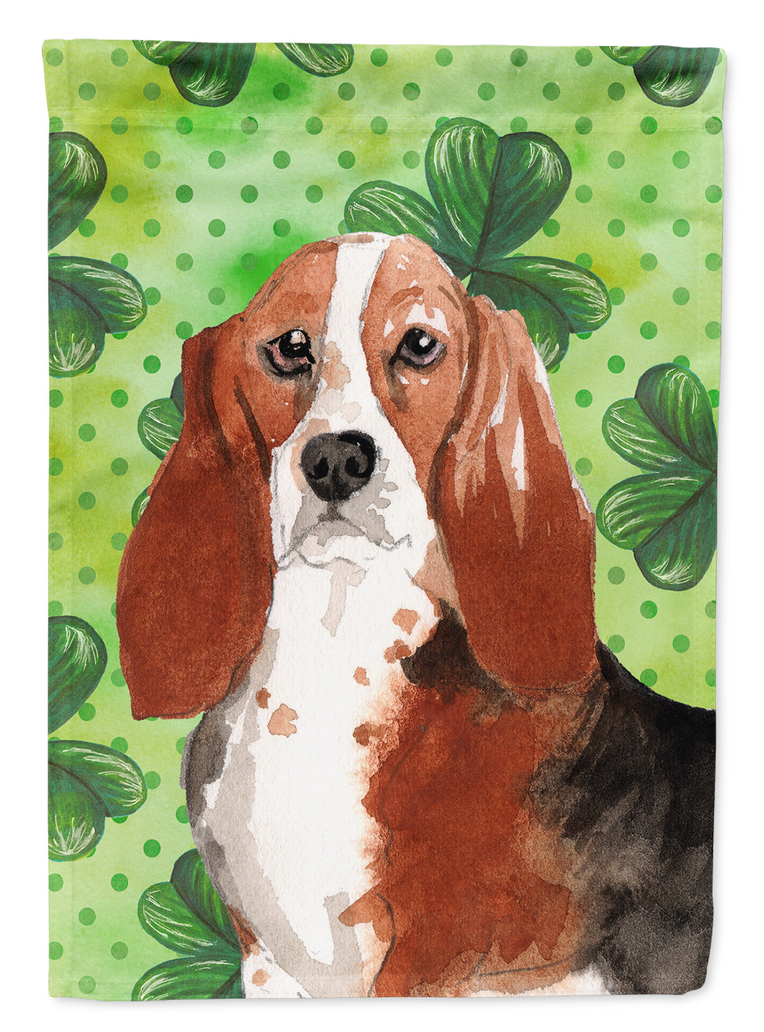Buy this Shamrocks Basset Hound Flag Canvas House Size CK1816CHF