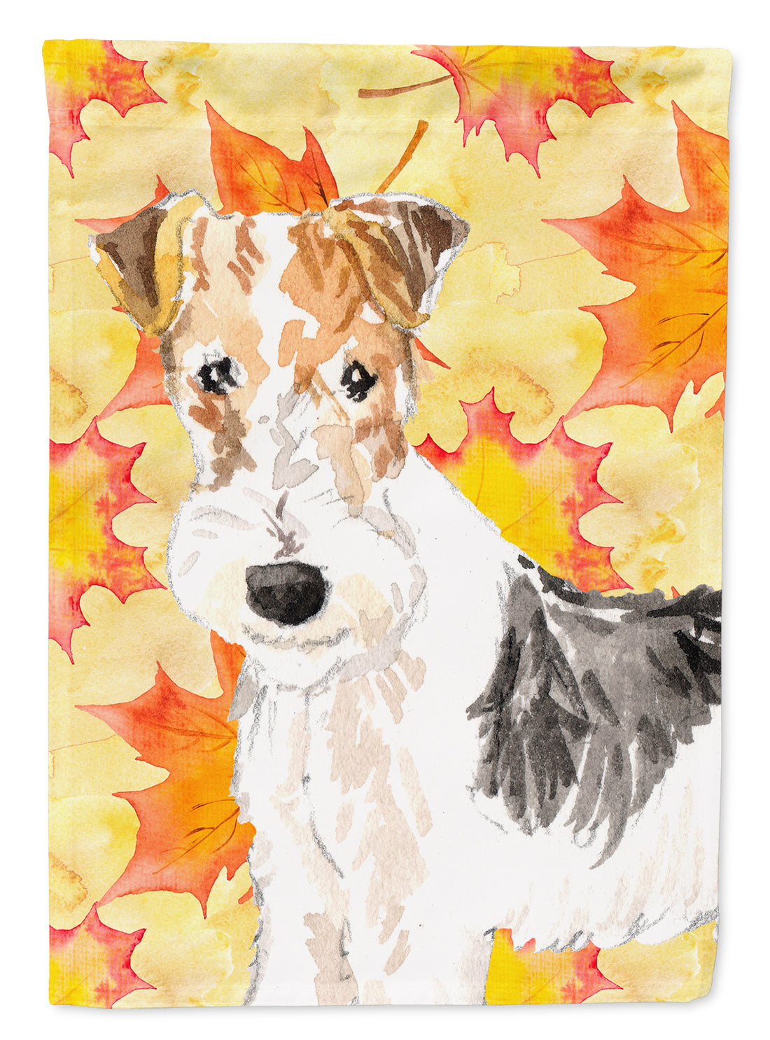 Fall Leaves Fox Terrier Flag Canvas House Size CK1818CHF by Caroline's Treasures