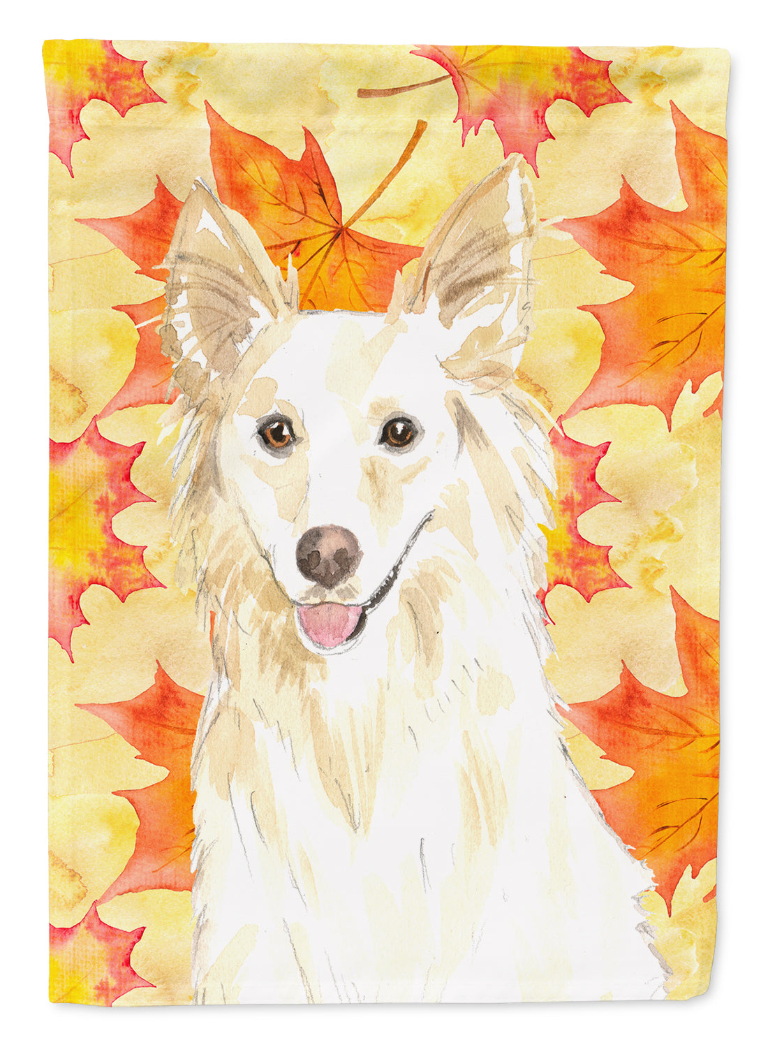 Fall Leaves White Collie Flag Canvas House Size CK1819CHF by Caroline's Treasures