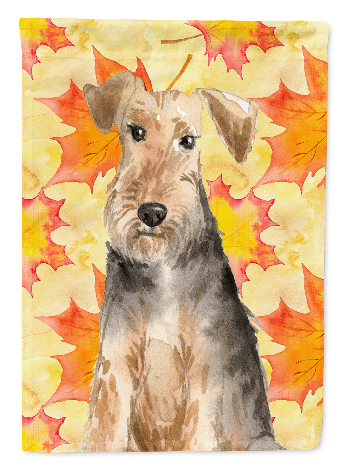 Fall Leaves Welsh Terrier Flag Canvas House Size CK1821CHF by Caroline's Treasures