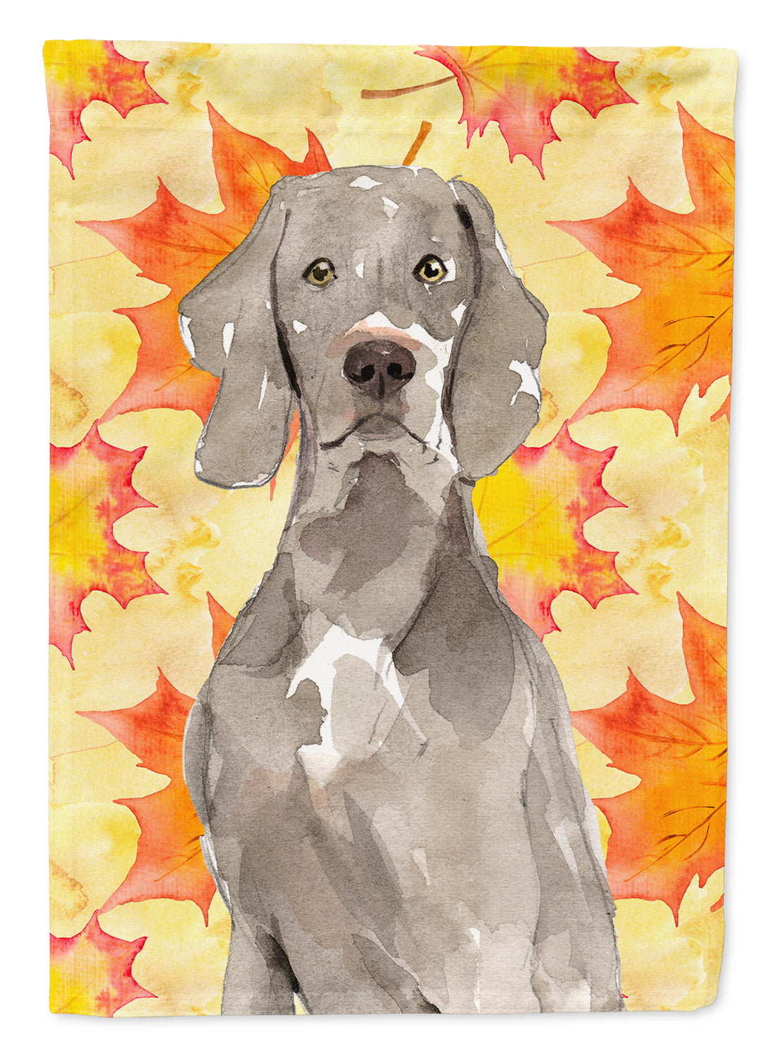 Fall Leaves Weimaraner Flag Canvas House Size CK1822CHF by Caroline's Treasures