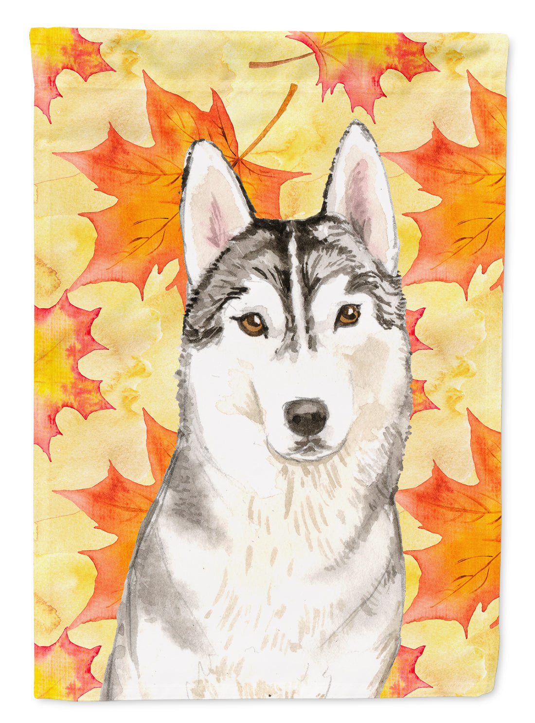 Fall Leaves Siberian Husky Flag Canvas House Size CK1824CHF by Caroline's Treasures