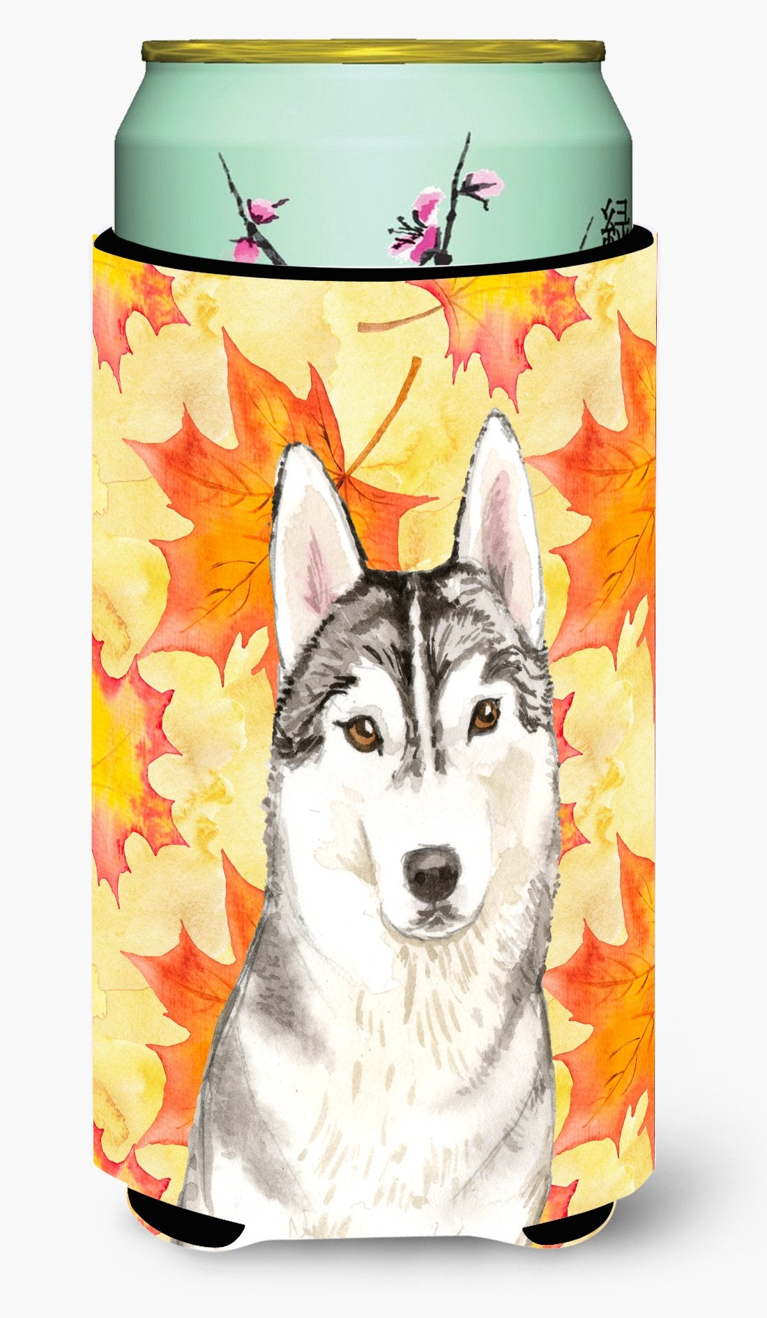 Fall Leaves Siberian Husky Tall Boy Beverage Insulator Hugger CK1824TBC by Caroline's Treasures