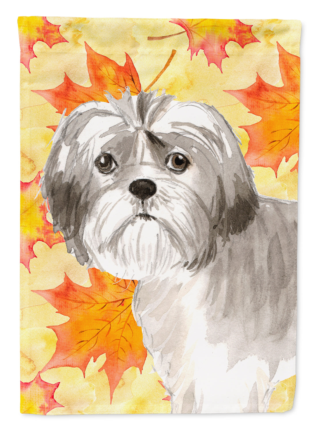 Fall Leaves Shih Tzu Puppy Flag Canvas House Size CK1825CHF by Caroline's Treasures