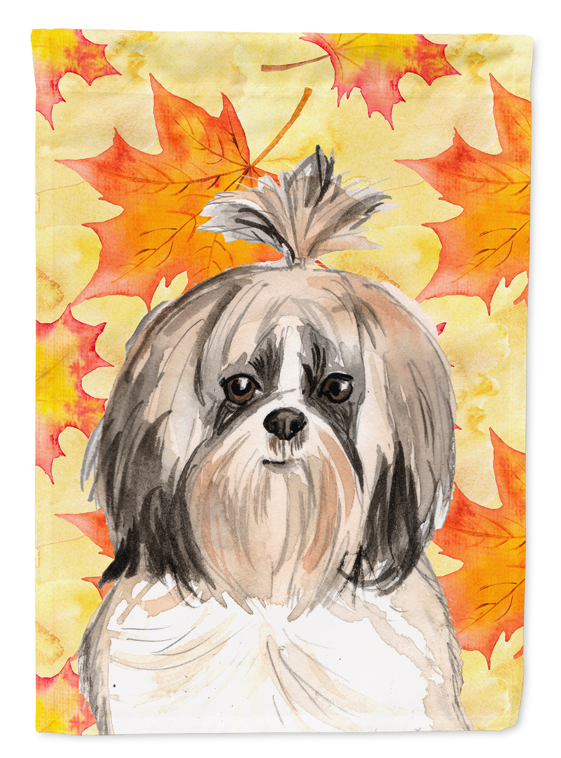 Fall Leaves Shih Tzu Flag Canvas House Size CK1826CHF by Caroline's Treasures