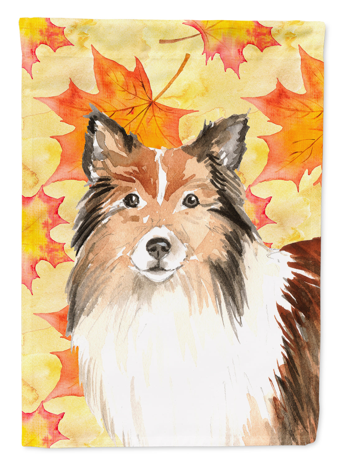 Fall Leaves Sheltie Flag Canvas House Size CK1827CHF by Caroline's Treasures