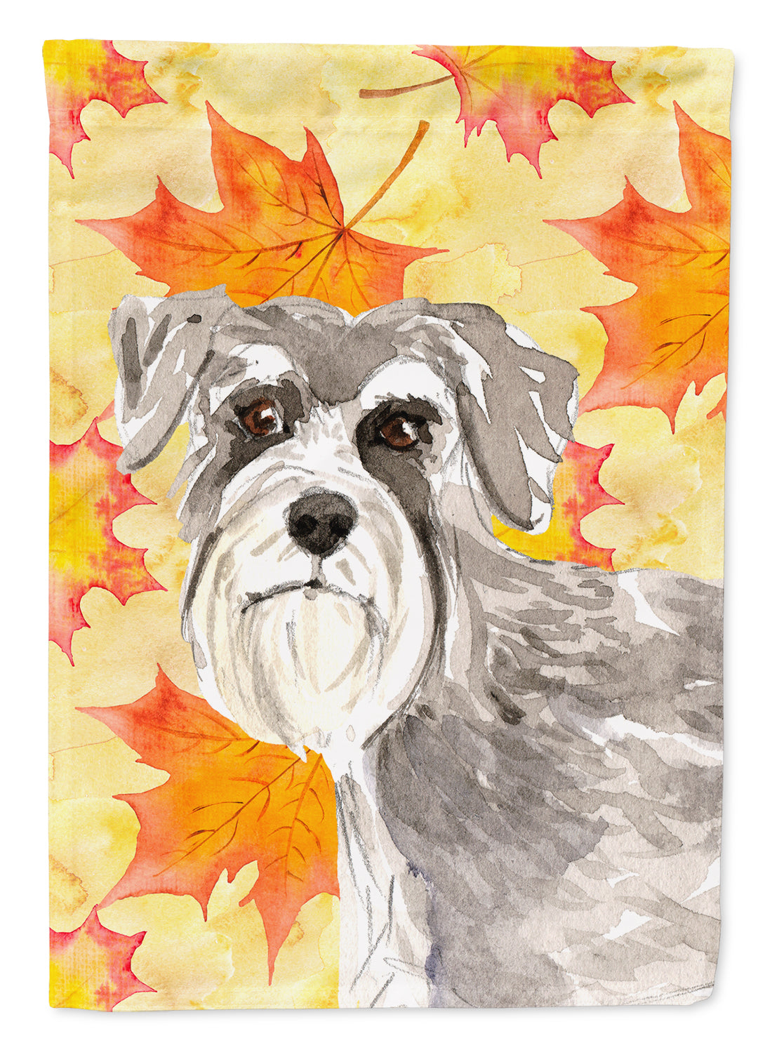 Fall Leaves Schnauzer #1 Flag Canvas House Size CK1829CHF by Caroline's Treasures