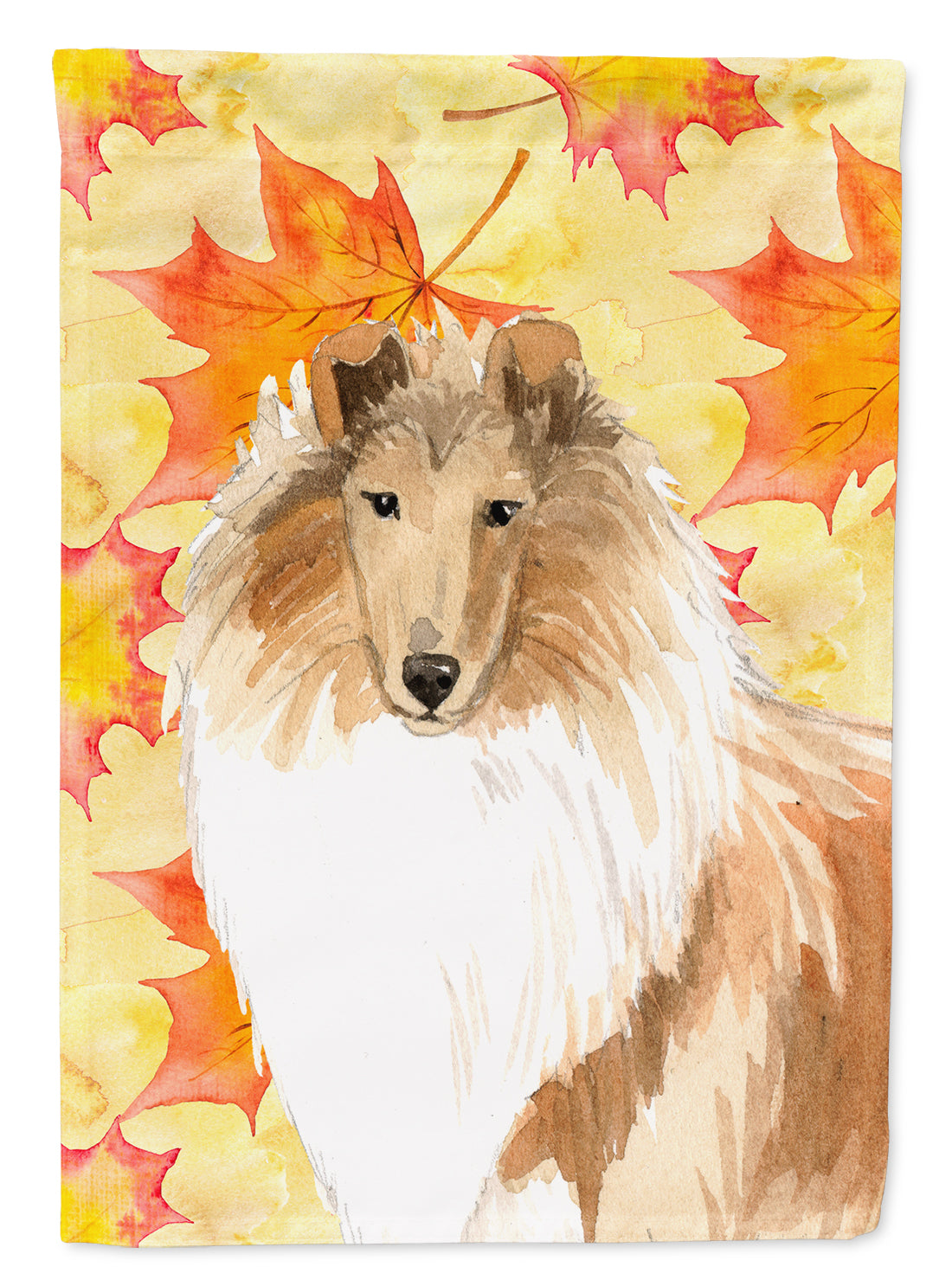 Fall Leaves Rough Collie Flag Canvas House Size CK1830CHF by Caroline's Treasures