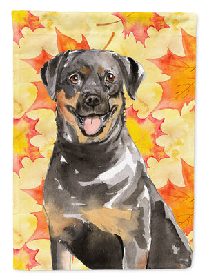 Buy this Fall Leaves Rottweiler Flag Canvas House Size CK1831CHF