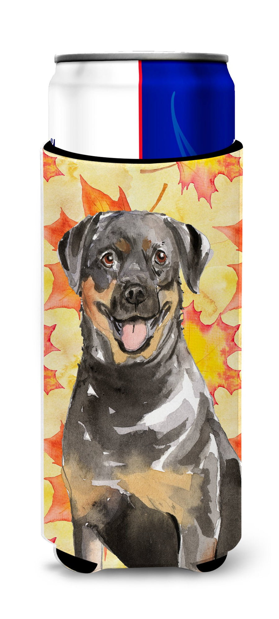 Buy this Fall Leaves Rottweiler Michelob Ultra Hugger for slim cans CK1831MUK