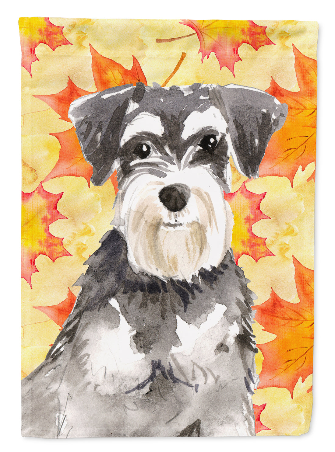 Fall Leaves Schnauzer #2 Flag Canvas House Size CK1833CHF by Caroline's Treasures