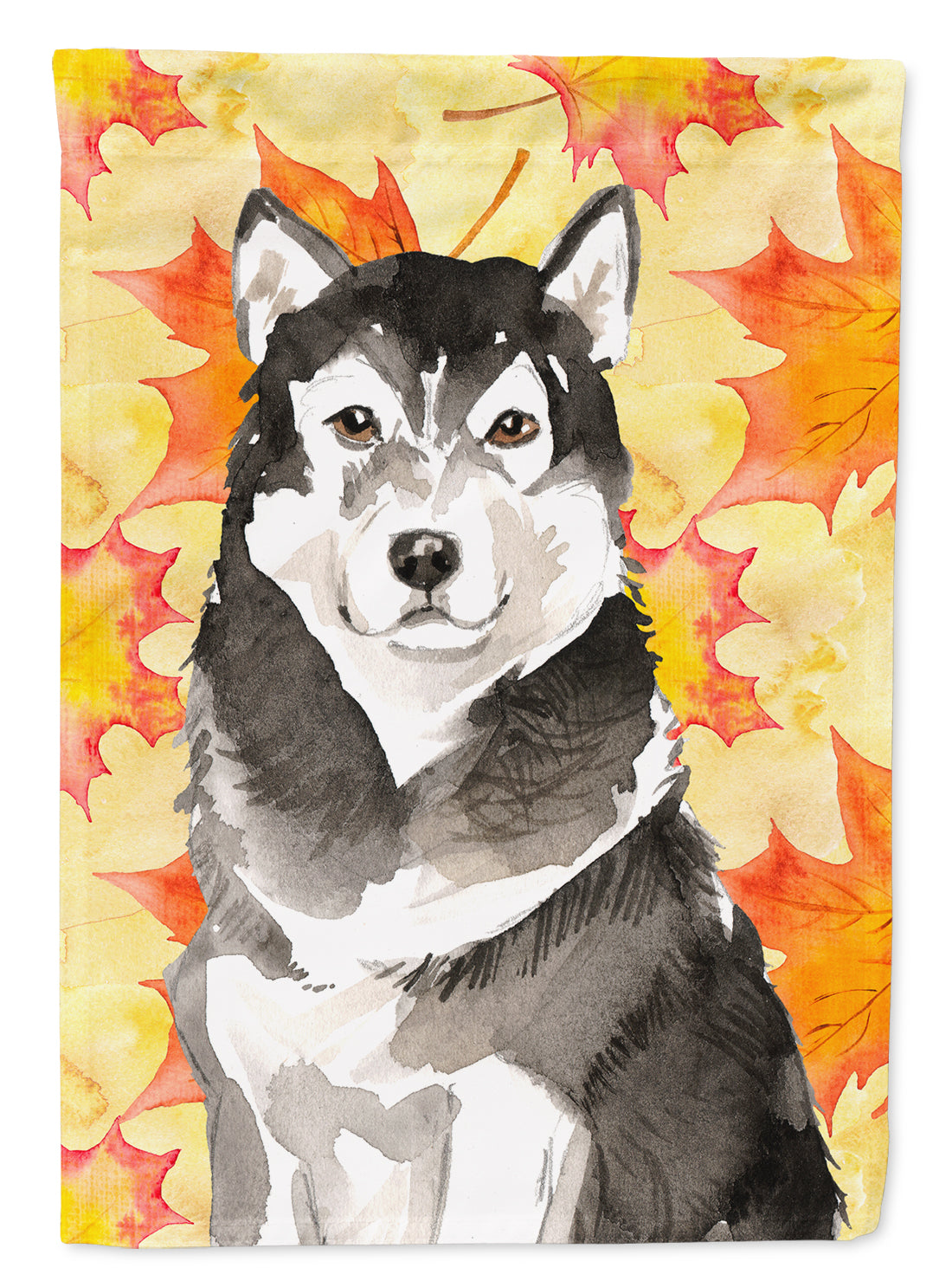 Fall Leaves Alaskan Malamute Flag Canvas House Size CK1835CHF by Caroline's Treasures