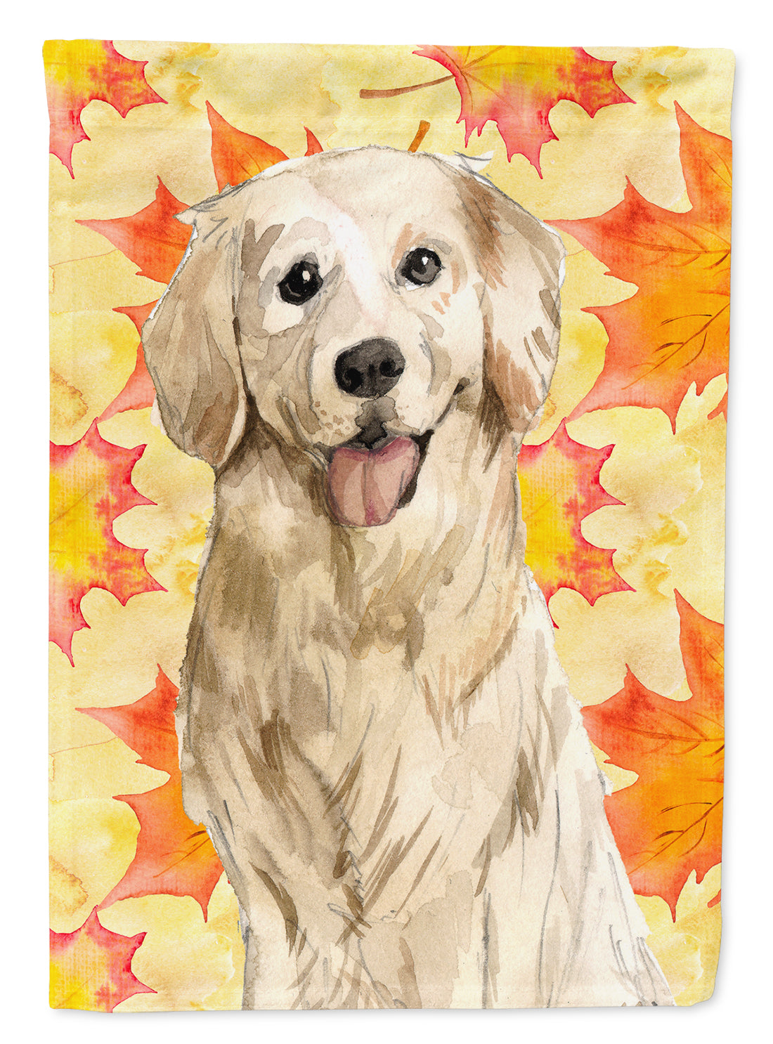 Fall Leaves Golden Retriever Flag Canvas House Size CK1841CHF by Caroline's Treasures