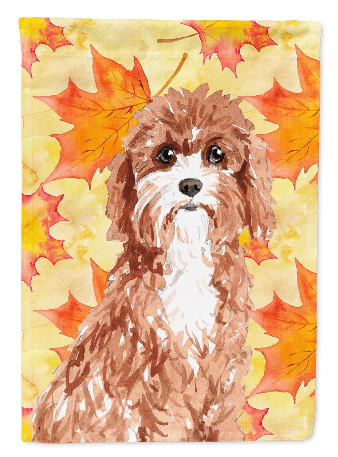 Fall Leaves Cavapoo Flag Canvas House Size CK1844CHF by Caroline's Treasures