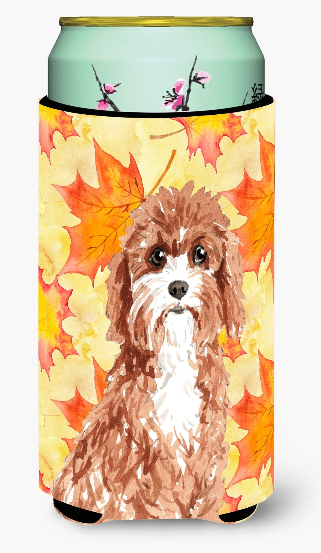Fall Leaves Cavapoo Tall Boy Beverage Insulator Hugger CK1844TBC by Caroline's Treasures