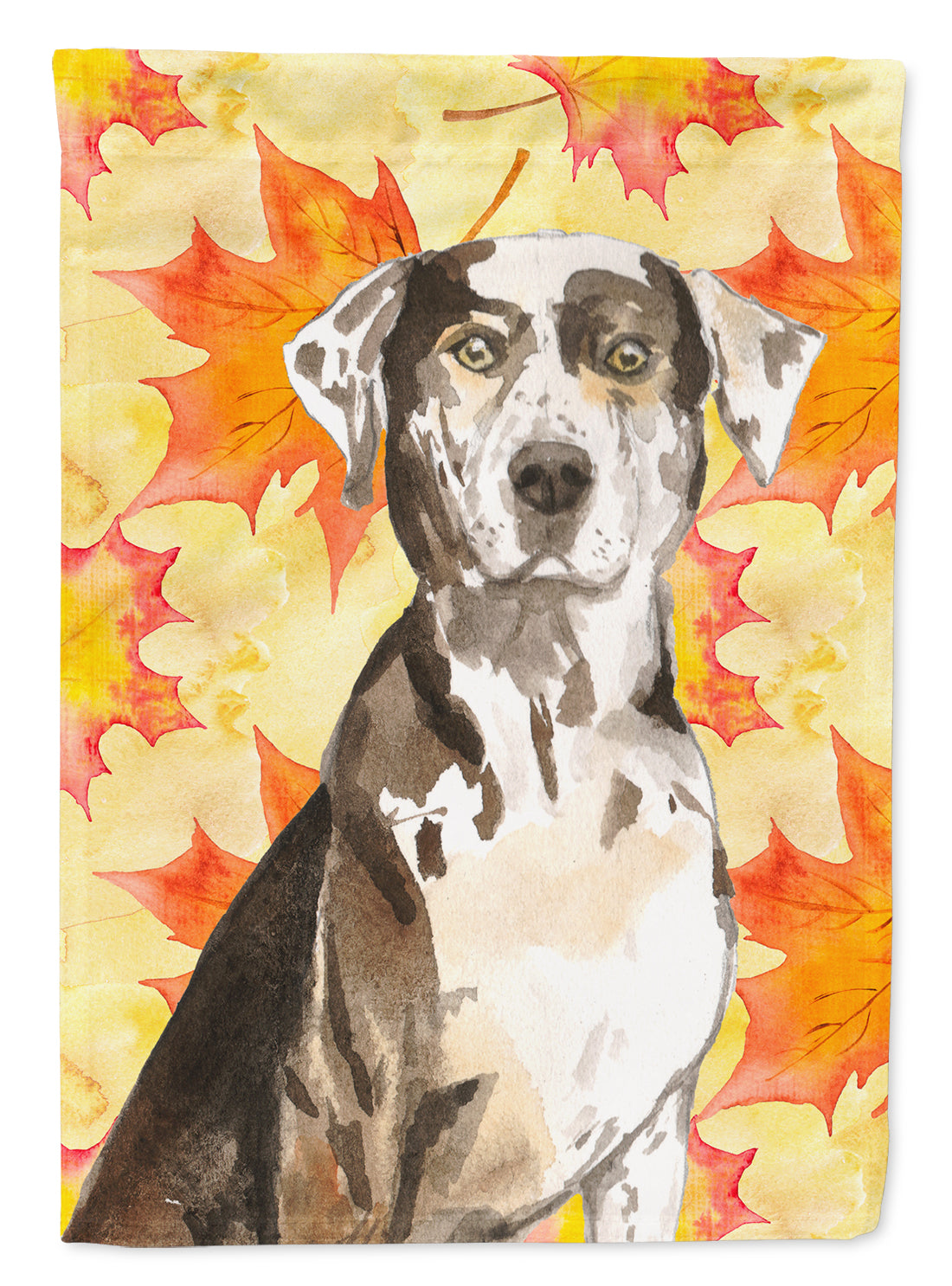 Buy this Fall Leaves Catahoula Leopard Dog Flag Canvas House Size CK1845CHF