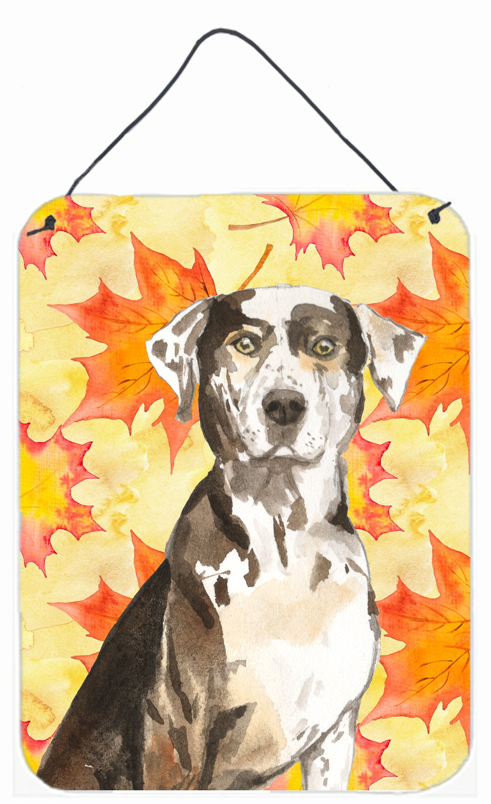 Buy this Fall Leaves Catahoula Leopard Dog Wall or Door Hanging Prints CK1845DS1216