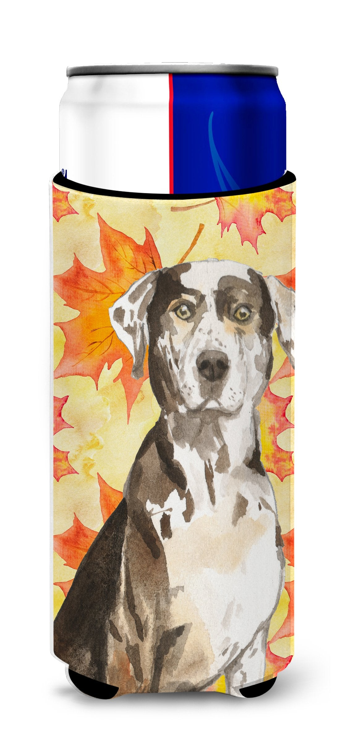 Fall Leaves Catahoula Leopard Dog Michelob Ultra Hugger for slim cans CK1845MUK by Caroline's Treasures
